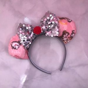 Beauty and The Beast Silver Bow Mickey Mouse Ears